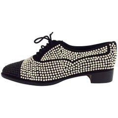 Manolo Blahnik White And Black Pearls Covered Brogues Sz37
