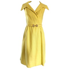 Mollie Parnis Canary Yellow Linen Vintage Belted Shirt Dress, 1950s