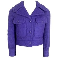 Pierre Cardin Purple Mohair 1960s Cropped Jacket