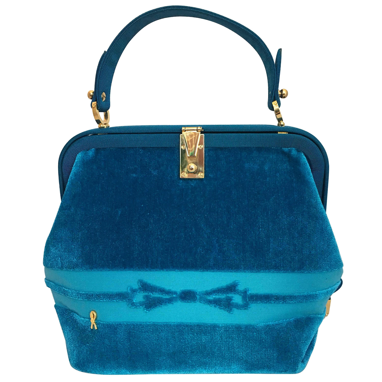 Roberta Di Camerino 1990s Turquoise Velvet Handbag uagkp