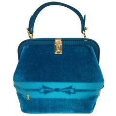 1990s Roberta di Camerino Turquoise Velvet Handbag