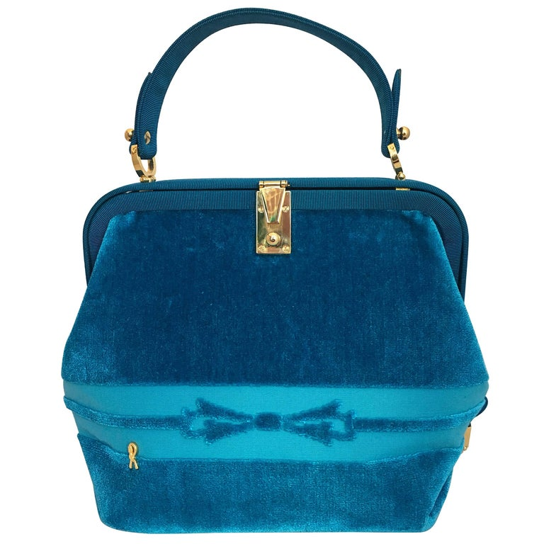 Roberta di Camerino 1990's Turquoise Velvet Handbag