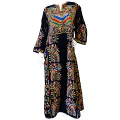 1970s Peacock Hand Embroidered Velvet Kaftan Dress