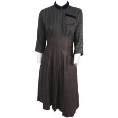 1940s Day Dress with Novelty Button Trim