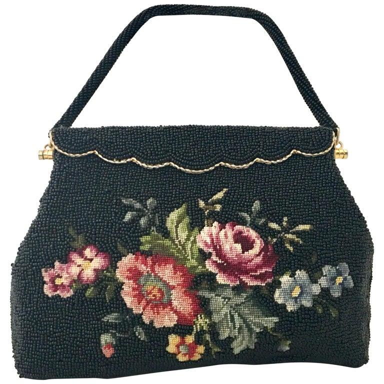 50'S Glass Glass Bead & Crewel Embroidered Hand Bag-Hong Kong For Sale