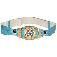 Turquoise Blue  Snake Skin Vintage Judith Leiber Belt with stones