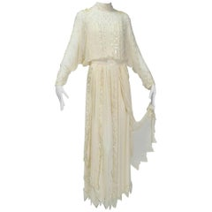 Edwardian Reproduction Handkerchief Hem Silk Tea Gown, 1980s