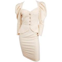 1980s Vicky Tiel Cream Suit Set