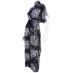 1980's Hiroko Koshnino Silk Gown with Storm Print & Sequins