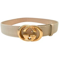 "Gucci Leather & Gold Plate ""GG"" Logo Buckle Belt"