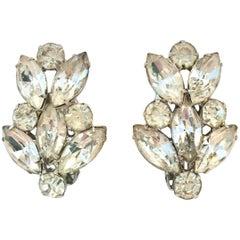"""1950'S Silver & Austrian Crystal Clear Rhinestone """"Flower"""" Earrings By, Garne"""
