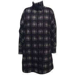 Moncler Gamme Rouge Grey And Black Plaid Mohair Coat With Down Lining  Sz2 (M)