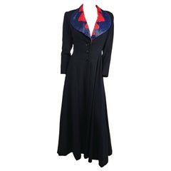 1940s Black Wool Coat with Red and Blue Beaded Collar