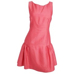 1960s Pink Low Waisted Ruffled Dress
