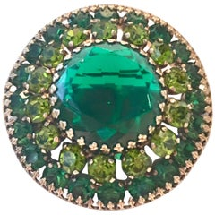 60'S Weiss Gold Emerald Swarovski Crystal Dome Brooch Signed