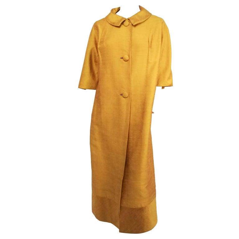 1960s Saffron Yellow Silk Shantung Opera Coat