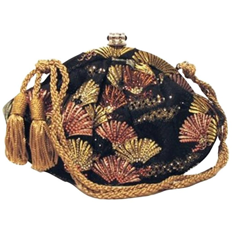 Judith Leiber Embroidered Silk and Swarovski Fan Evening Bag