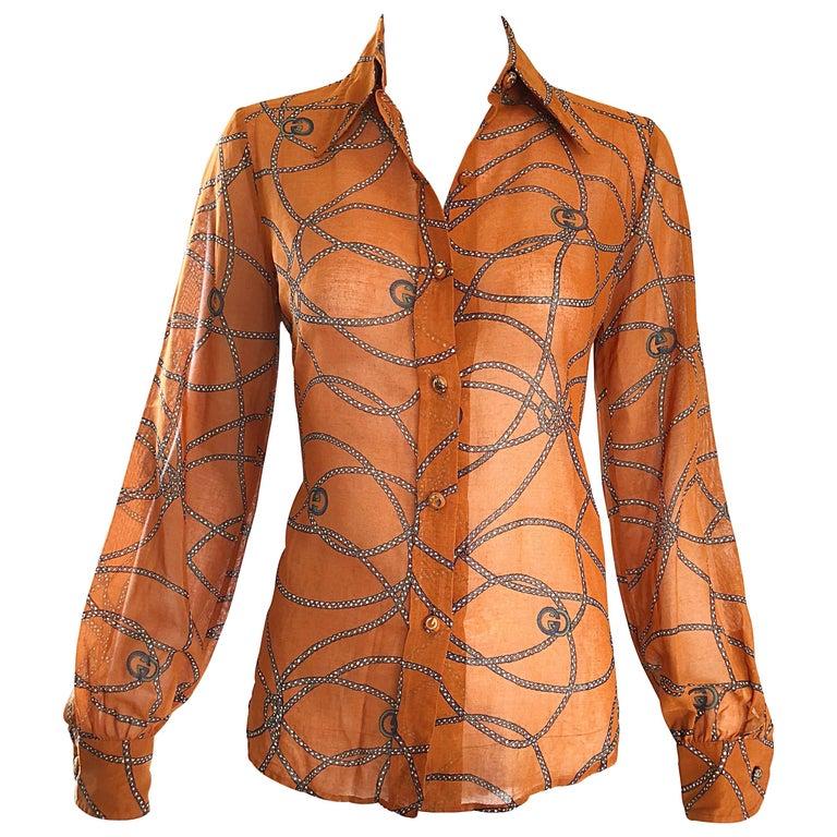 Gucci Signature Chain Horsebit Print Semi Sheer Cotton Shirt, Vintage 1970s  1