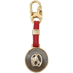 "Gucci Vintage Gold Plated and Red Leather Equestrian ""Good Luck"" Key Chain"