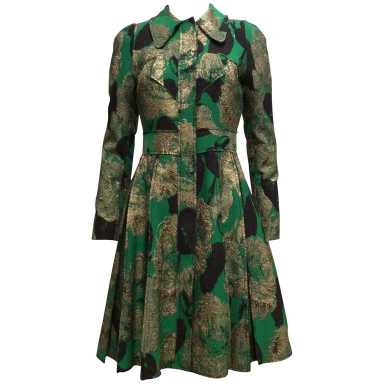 Erdem Green Gold Black Coat-Dress US Sz4