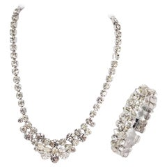 1950s Eisenburg Rhinestone Necklace and Bracelet Set