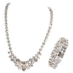 1950s Eisenburg Rhinestone Necklace and Bracelet Set