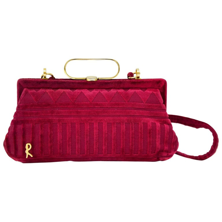 Roberta Di Camerino Raspberry Cut Velvet Bag, 1970s
