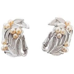 1960s Trifari Faux Pearl Bouquet Clip On Earrings