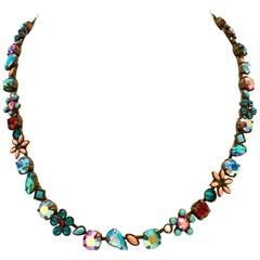 Sorreli Swarovski Crystal Rhinestone &  Enamel Flower Choker Necklace