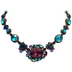 1980'S Sorreli Amethyst and Blue Topaz Swarovski Crystal Choker Necklace, Signed