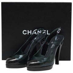 Chanel Dark Green and Black Patent Leather Sling Back Heels, 2000s