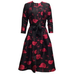 Carolina Herrera Black And Magenta Coat Dress Sz 8
