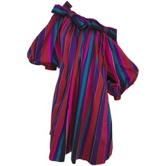 1980s Saint Laurent Red and Purple Striped Silk Dress With Oversized Sleeves