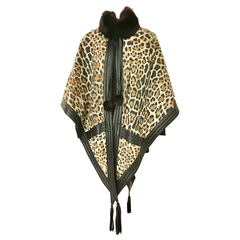1970s Christian Dior Suede Leopard Print Cape with Fox Fur Collar