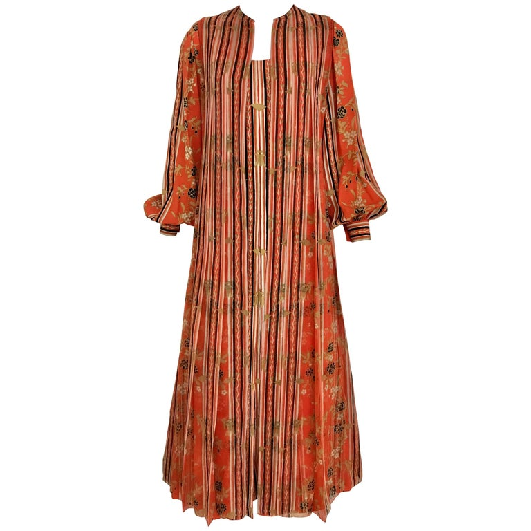 1970s GALANOS Orange and Black Floral Silk Print Dress with Vest