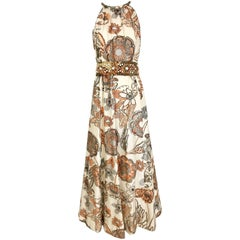 1970s Malcolm Starr Creme and Peach Floral Print Silk Dress with Jeweled belt