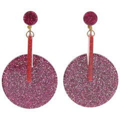 Oversized Italian Lucite Dangling Clip Earrings Fuchsia Silver Flakes Inclusions