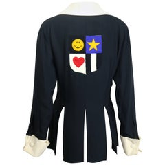 Moschino Couture Black Tunic Shirt with Symbols