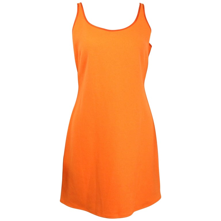 Rebecca Moses Orange Wool Sleeveless Dress
