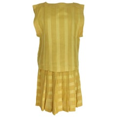 Byblos vintage linen yellow suit dress shirt skirt size 40 it made italy 1980s