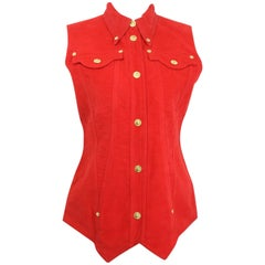 90s Gianni Versace Jeans Couture Red Cotton Collar Vest