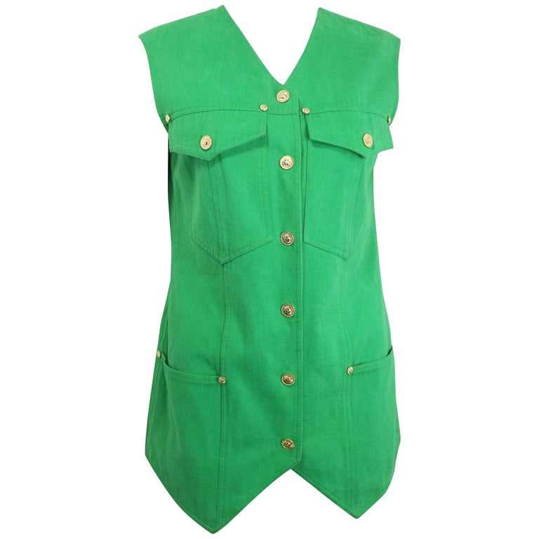Gianni Versace Jeans Couture Green Cotton Collarless Vest For Sale