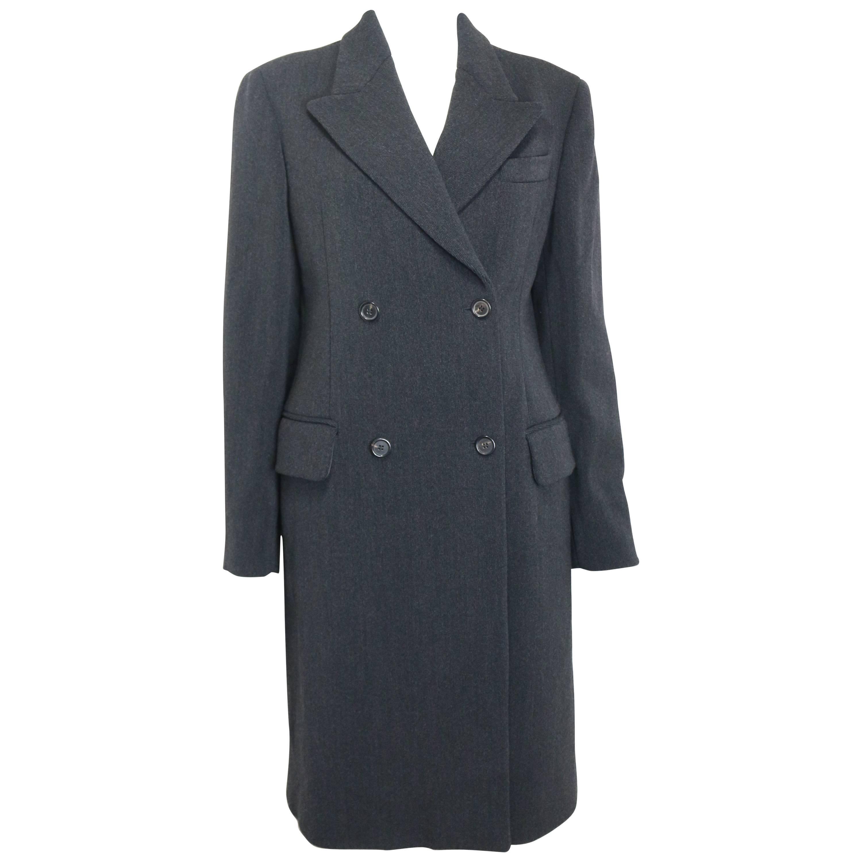 Prada Grey Wool Double Breasted Long Coat