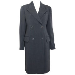 Prada Grey Wool Double Breasted Long Coat