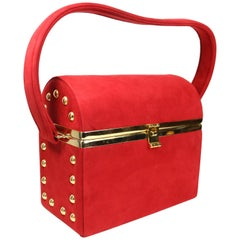 Vintage 80s Bruno Magli Red Suede with Gold Studs Vanity Handbag