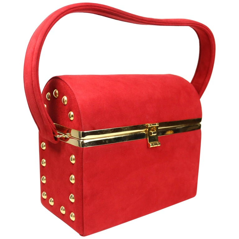 Bruno Magli Red Suede with Gold Studs Vanity Handbag