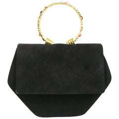 Rodo Black Suede Gold Toned Handle with Colour Stones Octagon Shoulder Bag