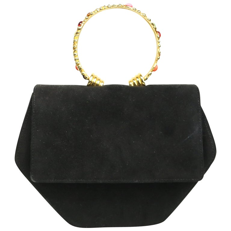 Rodo Black Suede Gold Toned Handle with Colour Stones Octagon Shoulder Bag