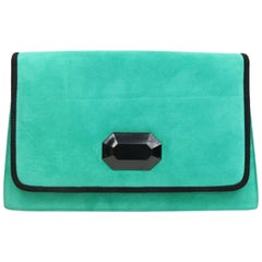 Charles Jourdan Turquoise Suede Trapezoid Clutches Shoulder Bag