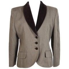 Nazareno Gabrielli vintage wool brown jacket size 44 it women's 1980s